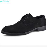 QYFCIOUFU Fashion Men's Suede Dress Shoes Brand Luxury Office Shoes Genuine Leather High Quality Cow Leather Italyan Shoes
