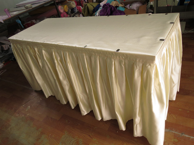 Factory supply customized size polyester fabric table skirt quality factory supply customized size polyester fabric table skirt quality fabric buffet table skirt many color for watchthetrailerfo