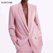 цена на 2019 Plaid 2 Piece Set Women Single Button Office Ladies Blazer Jacket + Pant Suits Women's Spring Autumn Long Sleeve Pink Sets