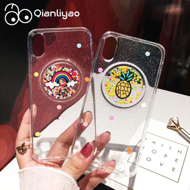 Qianliyao transparente piña Arco Iris Glitter fundas de teléfono X 7 para iphone 7 plus 8 8 plus 6 6 plus 6 funda de Tpu suave S 6 Splus