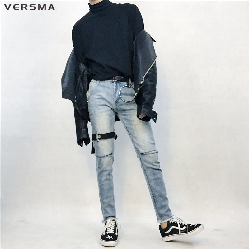 VERSMA Hip Hop Streetwear Slim Fit Denim Ripped Jeans Men Korean Harajuku SUGA GD Ribbon Patchwork Jogger Motorcycle Jeans Pants