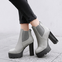 Lucyever 2018 new spring autumn women motorcyle ankle boots elastic brand high heels pu leather platform short booties big size