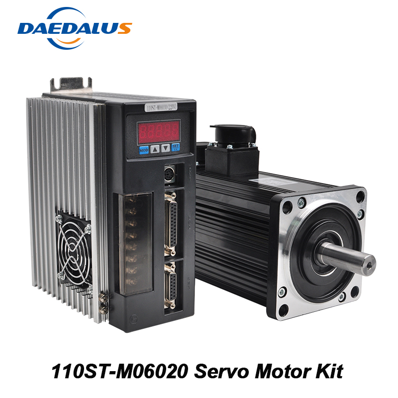 1.2KW AC Servo Motor 110ST M06020 Servo Motor Kit 6N.m Single Phase Motor+Matched Driver+3 Meters Encoder Cable Motor Cable