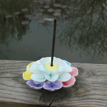 Colorful Lotus Incense Burner Ceramic Stick Incense Holder Aroma Furnace Home Decorations Buddhist Censer Sandalwood lotus upscale boutique red sandalwood ebony sandalwood incense burner hob buddhism adder