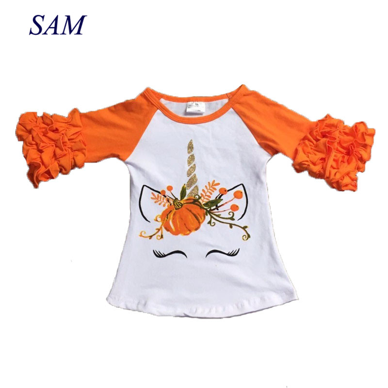 Top-Shirts Pumpkin Unicorn Raglans Ruffle Sleeve Orange Halloween Girls Children