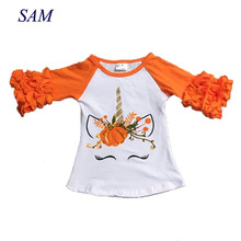 4323a9cd4 Children Halloween raglans children girls pumpkin unicorn raglans baby  girls orange ruffle sleeve unicorn raglans top