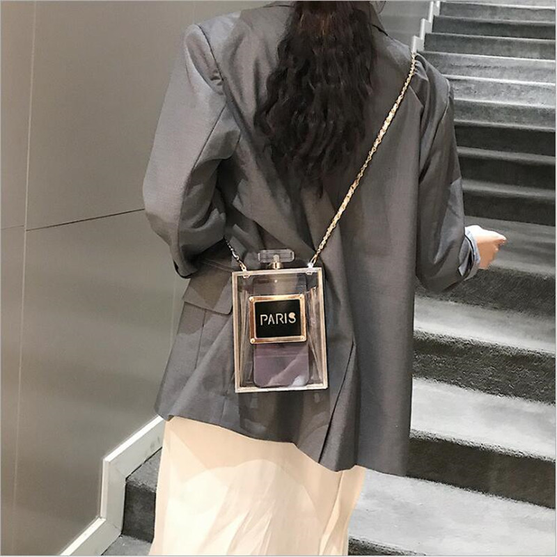 2019 Acrylic Women Casual Black Bottle Handbags Wallet Paris Party Toiletry Wedding Clutch Evening Bags Transparent Bag Women