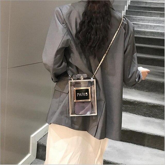 2019 Acrylic Women Casual Black Bottle Handbags Wallet Paris Party Toiletry Wedding Clutch Evening Bags transparent bag women