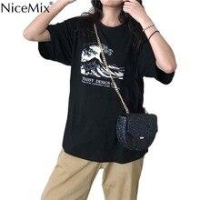 NiceMix Japanese wave Harajuku personalized print female short-sleeve T-shirt Summer Fashion loose casual cool unisex O-Neck clo