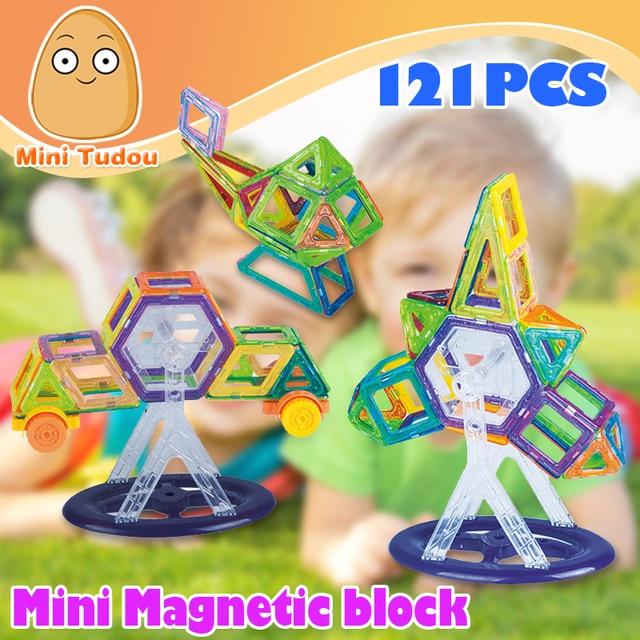 Minitudou 121 ШТ. Мини 3D Магнитный Конструктор Конструкция Магнитного Строительные Блоки Развивающие Игрушки Для Девочек И Мальчиков