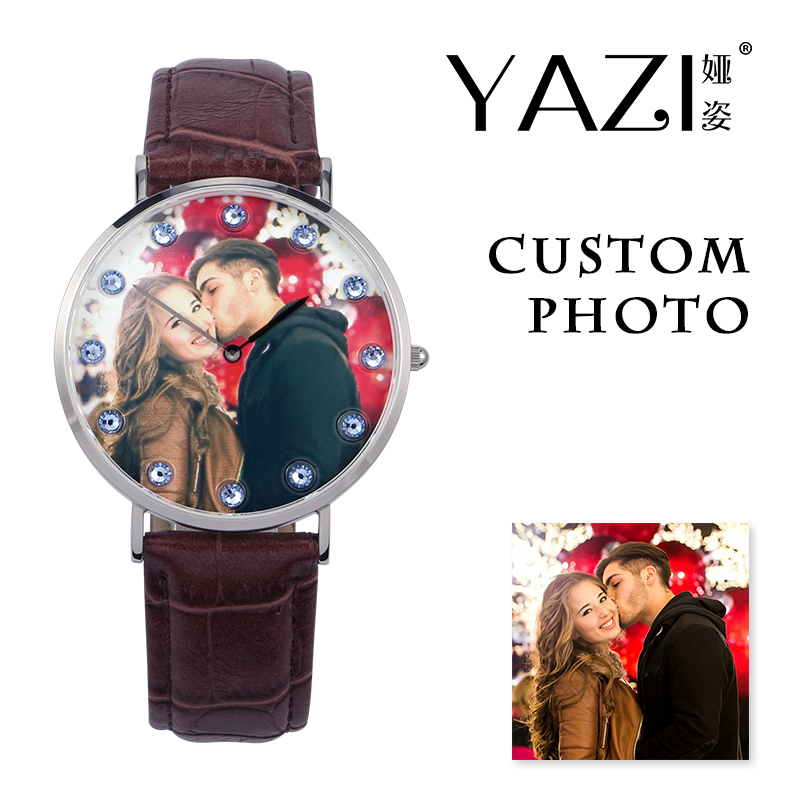 YAZI Brand Your Own Photo Watch Picture Print In Dial Unique Watch Birthstone Scale Genuine Leather Quartz Watch For Lovers Gift