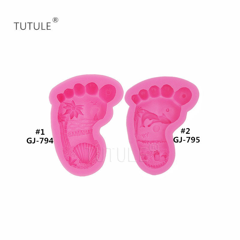 Baby  Small Feet Palm Fondant Mold Chocolate Cake Mould Decor Silicone Tool G