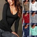 2017 Nueva Spirng Manera Más El Tamaño Mujeres Camisetas de Manga Larga Sexy Color sólido Delgado de la Señora de La Camiseta Negro Blanco Tops T-shirt Femme