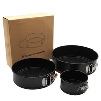 YUEWO 4 inch 7 inch 9 inch three piece set baking tray cake rings mold live buckle mold FDA non stick coated cake tray