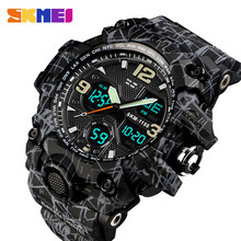 SKMEI Брендовые мужские спортивные часы уличные военные 50 м Водонепроницаемый аналоговый цифровой светодиодный Электронные наручные часы Relogio Masculino 1155