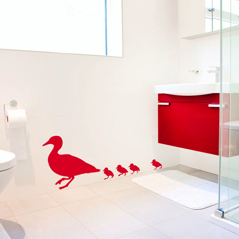 2016 New Product Family Of Ducks Wall Sticker Bathroom Wall Art Decor Creative Home Decoration Family of Love Decals