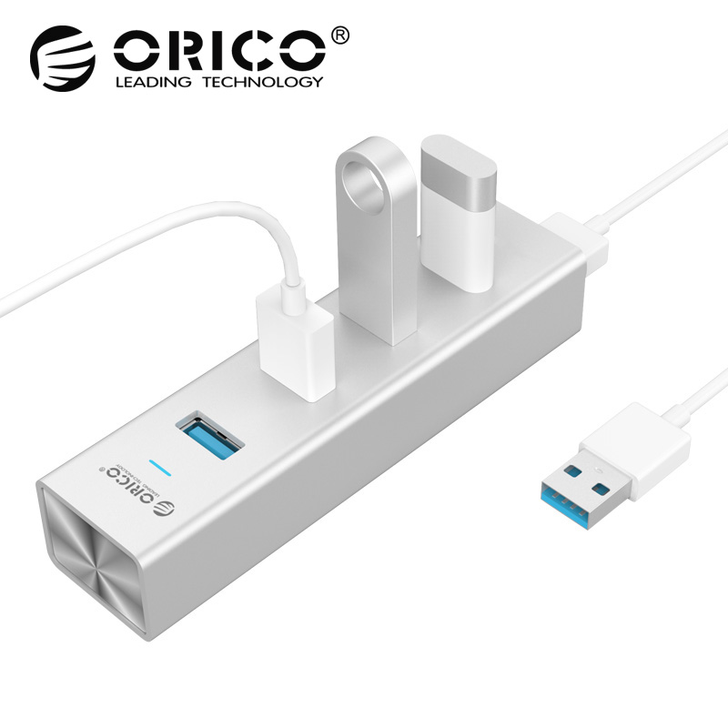 ORICO H4013-U3-SV Aluminum 4 Ports USB3.0 HUB for MAC Notebook Perfectly - Silver сетевая карта orico asl u3 silver