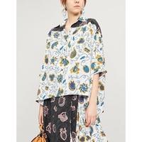 Шелковая рубашка Женская 2019 летняя с коротким рукавом Свободная Повседневная модная элегантная богемная рубашка с отворотом