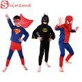 3 conjuntos 1 lote crianças spiderman batman superman superhero traje trajes definir panos meninos da festa de aniversário crianças super hero capa