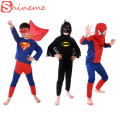 3 sets 1 lot kids superhero costume Spiderman Batman  Superman costumes set cloths boys birthday Party children super hero cape