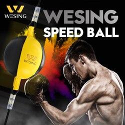Wesing leder boxen speed ball boxeo gym ausrüstung doppel ende kampf ball