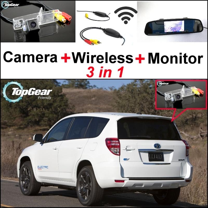 3 in1 caméra de vue arrière spéciale + récepteur sans fil + miroir moniteur bricolage système de stationnement pour TOYOTA Vanguard RAV4 RAV-4 RAV 4 XA30