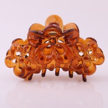 9 CM Large Hairpin For Women Solid Transparent Plastic Crab For Hair Vintage Hollow Out Flower Shape Hair Claw Clips Accessories