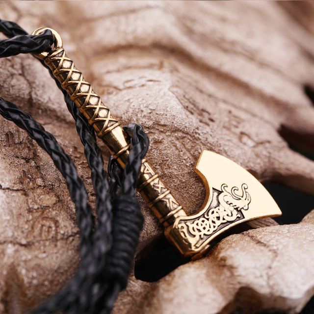 my shape 2018 New Dropshipping Viking Mammen Odin Symbol Rune Horror Slavic Peru Axe Amulet Talisman Mens Leather Bracelets 5