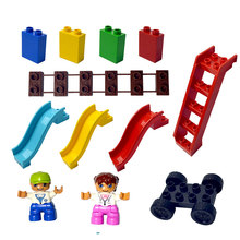 Duploe Grande Formato Building Blocks FAI DA TE All'ingrosso del mattone Colorato scaletta Scivolo ponte figura regalo Compatibile LegoINGlys duploe del progettista(China)
