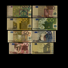 цена на 8pcs/lot 5 10 20 50 100 200 500 1000 EUR Gold Banknotes In 24K Gold Fake Paper Money for Collection Euro Banknote Sets