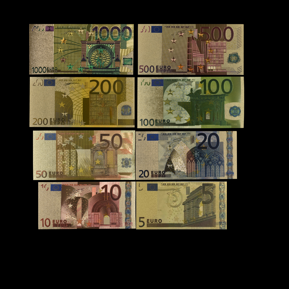 8pcs/lot 5 10 <font><b>20</b></font> 50 100 200 500 1000 EUR Gold <font><b>Banknotes</b></font> In 24K Gold Fake Paper Money for Collection <font><b>Euro</b></font> <font><b>Banknote</b></font> Sets image