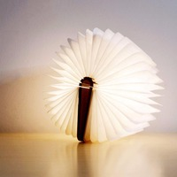 LED USB Rechargeable Desk Lamp Foldable Wooden Book Shape Nightlight Booklight For Home Decoration Warm White