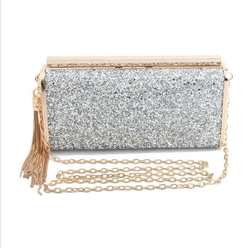 Evening-Bags Purse Crossbody-Shoulder-Bag Day-Clutch Bling-Chain Wedding-Lock Party-Tassel