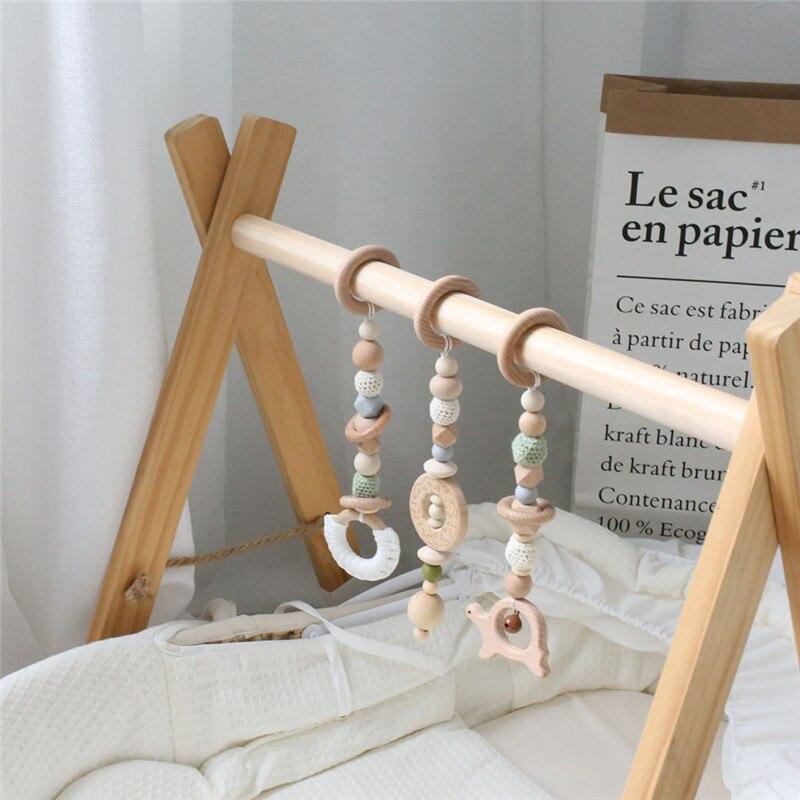 1 ensemble bébé hochet Mobile berceau Silicone perles hêtre bois beignet dentition bricolage à la main infantile lit poussette suspendus décor avec support - 5