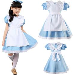 Алиса в стране чудес дети праздничное платье для девочки платье горничная Лолита костюмы для косплея комплект