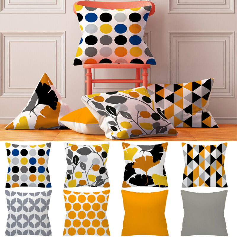 Polyester Cushion Case Cover Yellow Throw Sofa Car Home Textile 2019 New