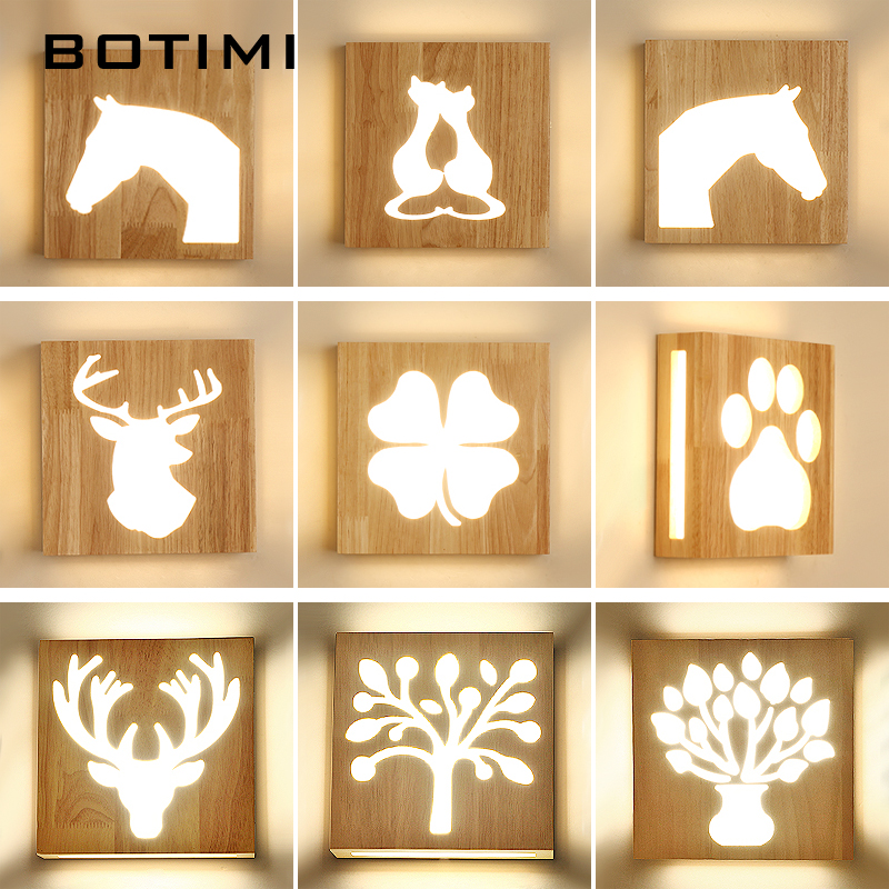 BOTIMI Wooden LED Wall Lamp For Living Room Decor Wall Mounted Bedside Light Wood Wall Sconce Wall Lights Kids Room LightingBOTIMI Wooden LED Wall Lamp For Living Room Decor Wall Mounted Bedside Light Wood Wall Sconce Wall Lights Kids Room Lighting