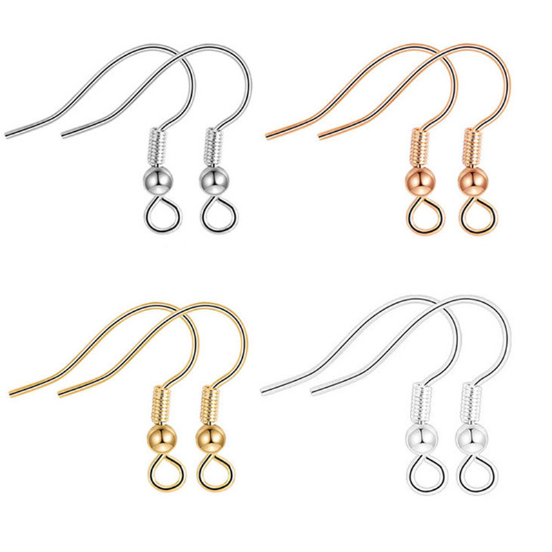 2pcs/set Gold Silver Black White Color Hook Ear Wires Hooks Earrings For Diy Jewelry Findings Components Accessories