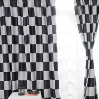 地中海スタイル現代の カーテン黒と白ウィンドウ シェード格子縞遮光カーテン ホーム キッチン カーテン B16201