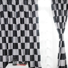 Mediterranean style Modern curtain Black And White window shades Plaid Blackout curtains Home Kitchen curtains B16201