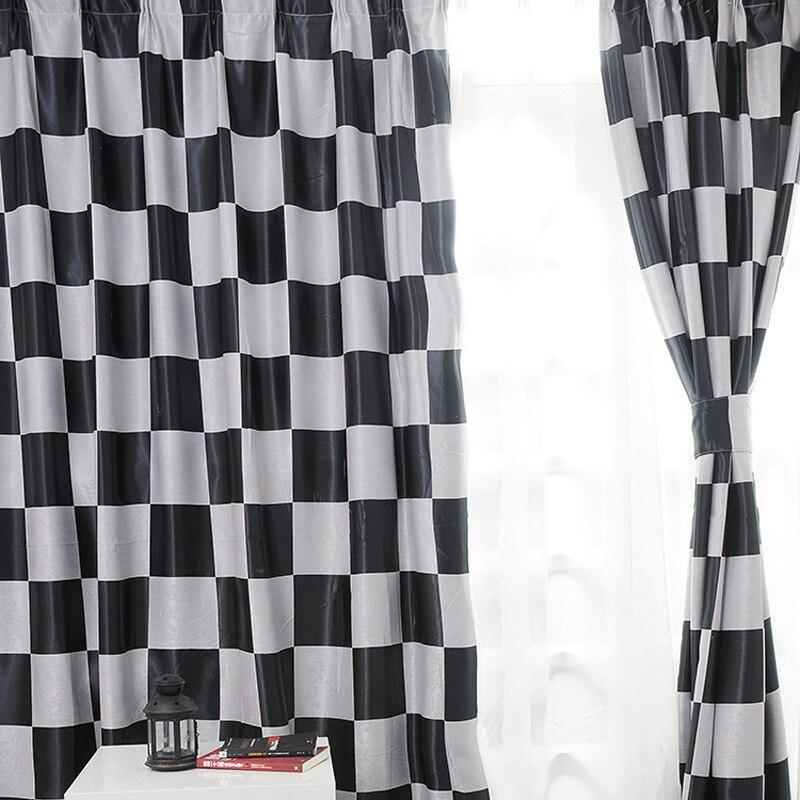 estilo mediterrneo moderna blanco y negro de la ventana de la tela escocesa blackout cortinas cortinas
