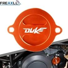 купить Motorcycle Accessories CNC Engine Oil Filter Cover Cap Fluid Reservoir Oil Cup For KTM DUKE 125 200 390 690 690 SMC/R RC200 390 дешево