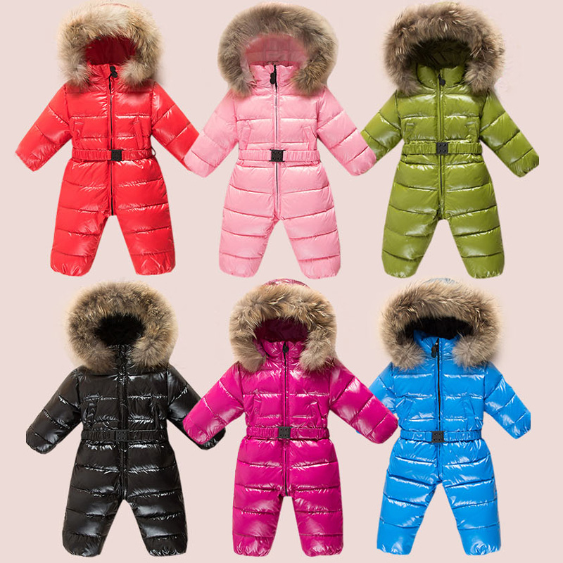 2019 Children's Winter Overalls Fur Hood Down Newborns Boys Rompers Warm Toddler Girls Clothes Unisex Onesies Outfits