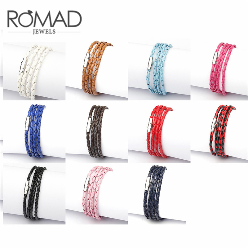 Romad 11 Colors Retro Wrap Long Leather Men Bracelets Bangles Classic Long Chain Link Male Charm Multi-Layer Women Bracelets R5F