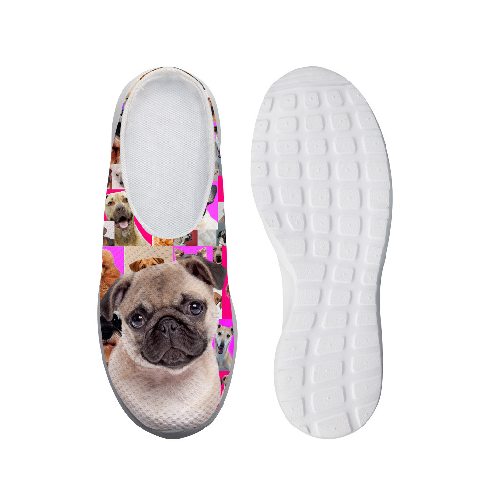 ELVISWORDS Summer Womens Slippers Cute Bulldogs Print Mesh Breathable Slides Lightweight Slip-on Beach Water Shoes Female