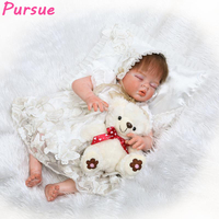 Pursue 22/55 cm Handmade Doll Baby Real Half Body Silicone Dolls Reborn Girl Fake Baby Doll Toy boneca bebe reborn menina 55 cm