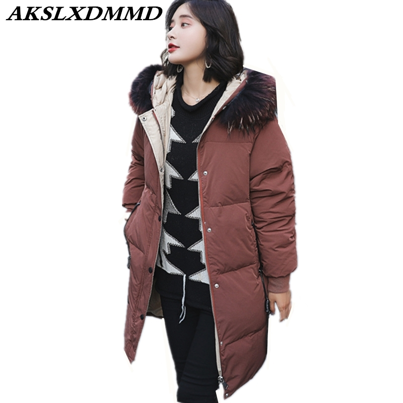 2019 New Women Winter Cotton Coat Hooded Fur Collar Plus Large Size Loose   Parka   Thick Cotton Jacket Warm Winter Outerwear CW040
