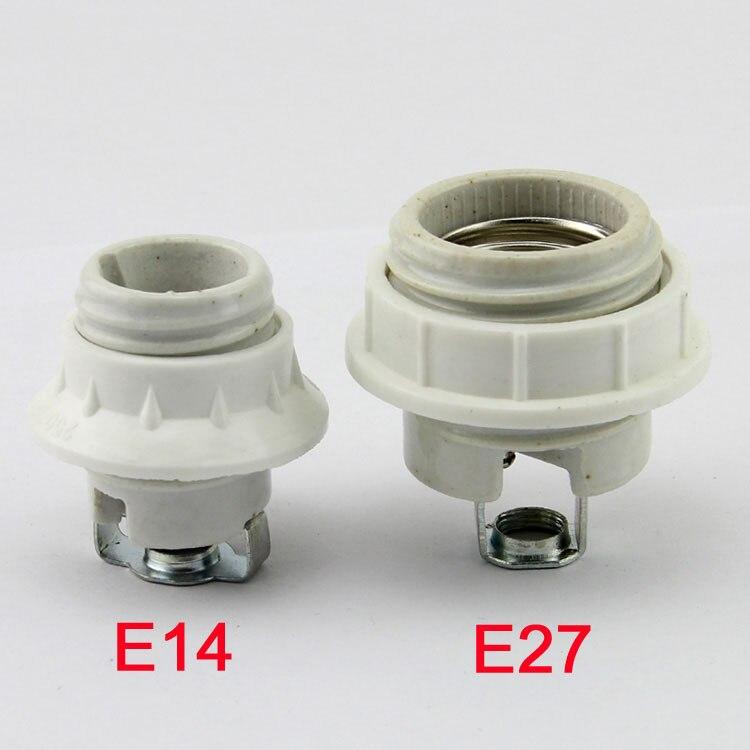 Screw  E14 E27  Ceramic Porcelain Socket Light Bulb Holder For E14 E27 With Ring, 110V 220V