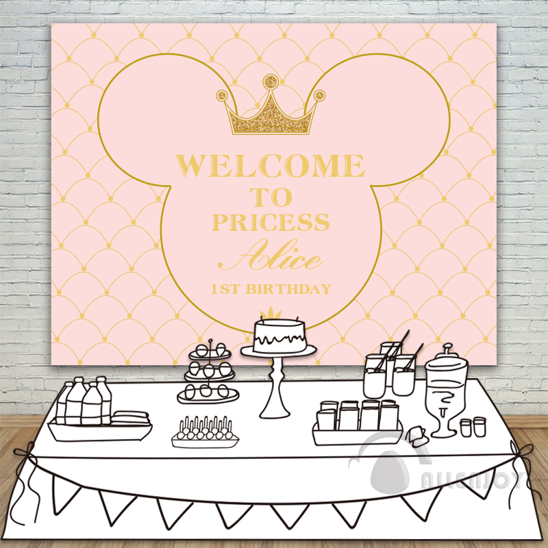Princess Party Backdrop Baby Shower 1st Birthday Invitation celebration Party Pink Table Banner photocall Background Allenjoy allenjoy background photography pink birthday table flower cake wood backdrop photocall photobooth photo studio