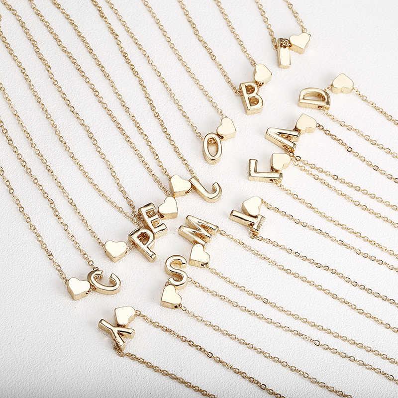 Moda corrente de ouro minúsculo coração dainty inicial personalizado nome da letra gargantilha colar para mulheres cor de ouro pingente jóias presente